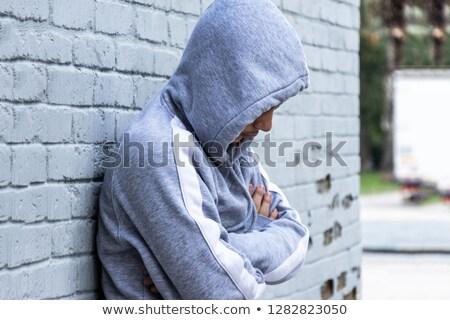 Portret chłopca żal szczęśliwy tle smutne Zdjęcia stock © meinzahn