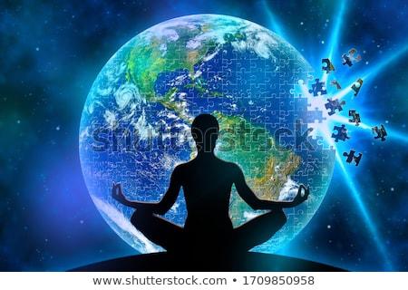 Bilmece dünya akla kadın yoga anlamaya Stok fotoğraf © FOTOYOU