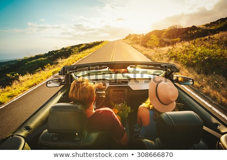 happy friends driving in convertible car Stock photo © dolgachov