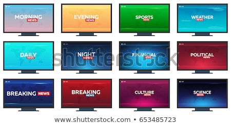 Stock photo: Mass media. Daily news. Breaking news banner. Live. Television studio. TV show.