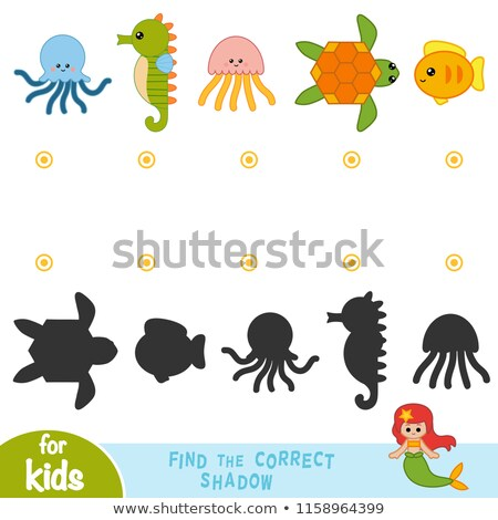 Find the correct shadow sea horse kids puzzle Stock photo © adrian_n