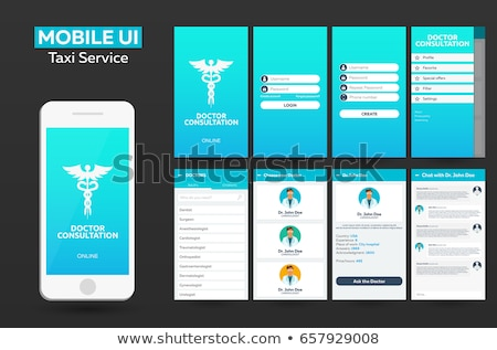 Mobile app Doctor consultation online Material Design UI, UX, GUI. Responsive website. Stock photo © Leo_Edition