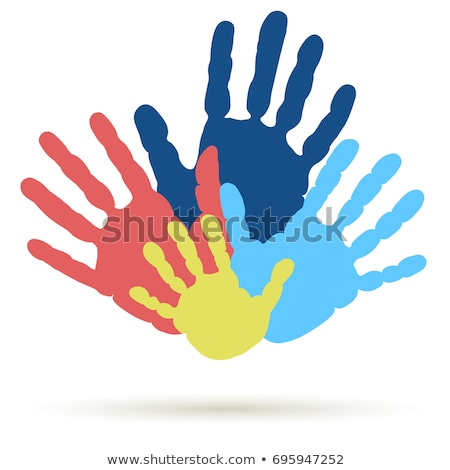 Handprint of family. Palm of man, woman and child.  Symbol of parenting relationship. vector Stock photo © Andrei_