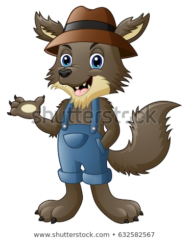Сток-фото: Cartoon · волка · характер · талисман · Cute · животного