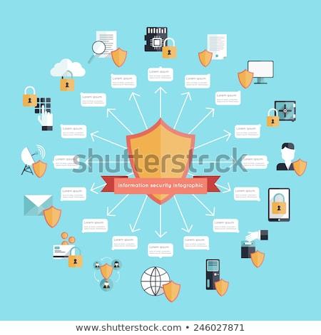 cadeado · escudo · segurança · trancar · ícone · computador - foto stock © orson