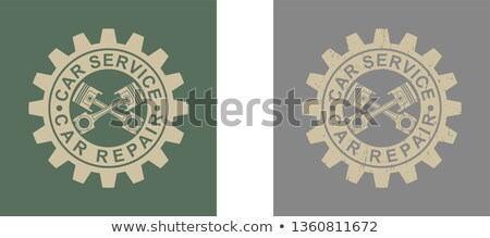 Auto Repair - Text on the Mechanism of Metallic Cog Gears. 3D. Stock photo © tashatuvango