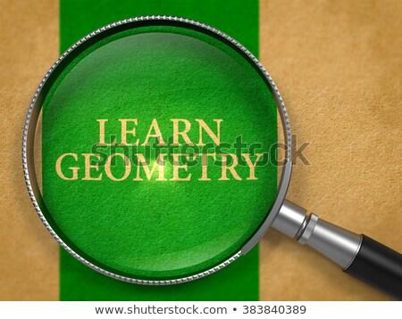 Aprender geometria lupa papel velho verde vertical Foto stock © tashatuvango