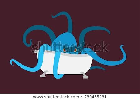 Kąpieli ośmiornicy wanna potwora projektu sztuki Zdjęcia stock © popaukropa