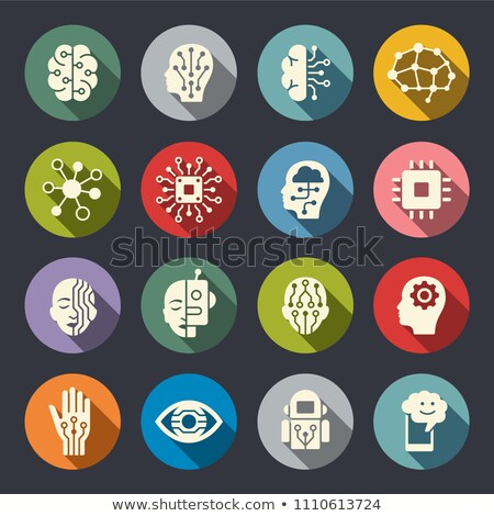 Cyborg Head Flat Icon Stock photo © ahasoft