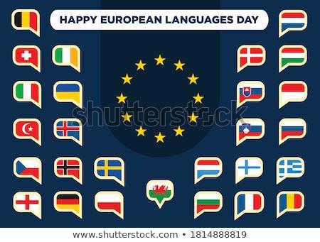 Európai nap nyelvek üdvözlőlap 26 nyelv Stock fotó © Olena