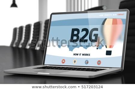 Költségvetést készít laptop konferencia előcsarnok 3D kirakat Stock fotó © tashatuvango