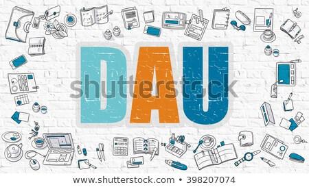 Multicolor DAU on White Brickwall. Doodle Style. Stock photo © tashatuvango