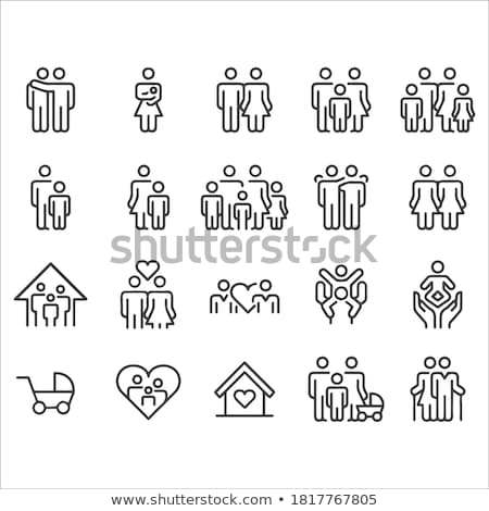family line icon set stock photo © rastudio