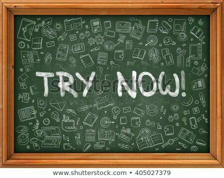 Hand Drawn Try Now on Green Chalkboard. Stock photo © tashatuvango