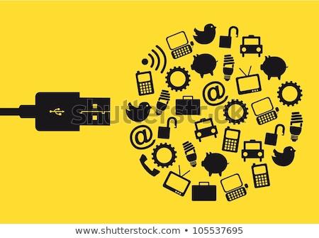 usb disk with data transfer concept   vector illustration stock photo © akhilesh