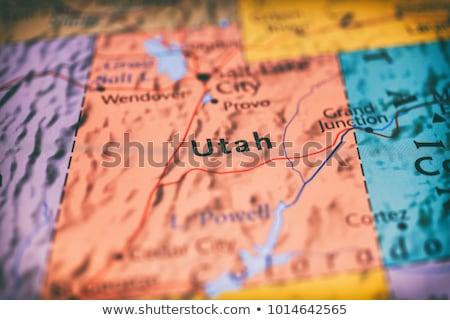 Stock fotó: Térkép · Utah · háttér · fehér · vonal · USA
