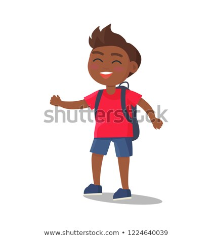 Smiling Kid in T-shirt, Jeans Shorts with Rucksack Stock photo © robuart