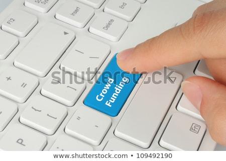 Blauw menigte knop toetsenbord moderne Stockfoto © tashatuvango