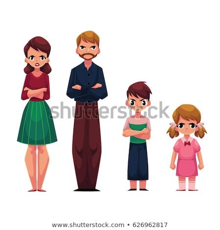 Retrato zangado furioso família criança Foto stock © deandrobot