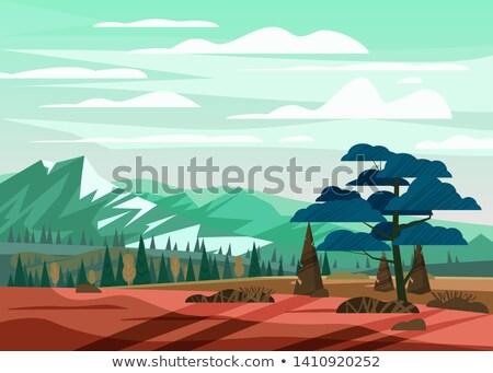 hegyek · poszter · természet · tájkép · sziluettek · fák - stock fotó © Leo_Edition
