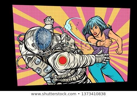 女性 対 宇宙飛行士 戦う ポップアート レトロな ストックフォト © studiostoks