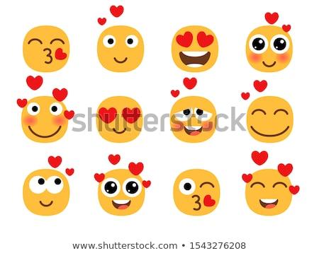 Emoji kissing smiling face, emoticon with kiss love lips, vector illustration. Stock photo © ikopylov