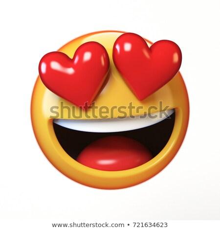 愛する 目 顔文字 赤 心 笑顔 ストックフォト © ikopylov