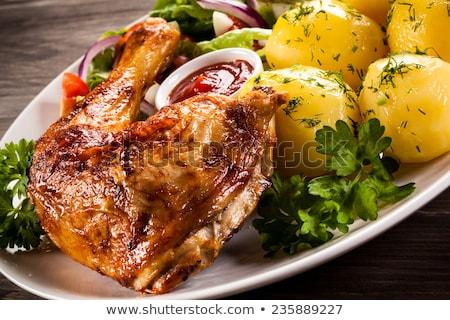 Pörkölt tyúk burgonyasaláta szürke tányér tojás Stock fotó © Digifoodstock