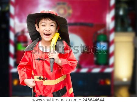 Crianças bombeiros escolas brinquedo masculino felicidade Foto stock © IS2