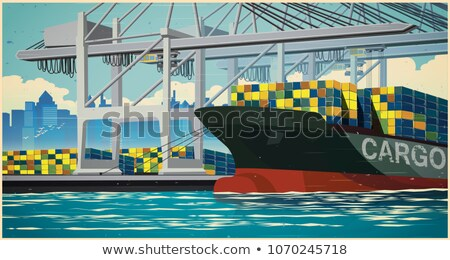 Loading containers on container ship retro poster Stock photo © tracer