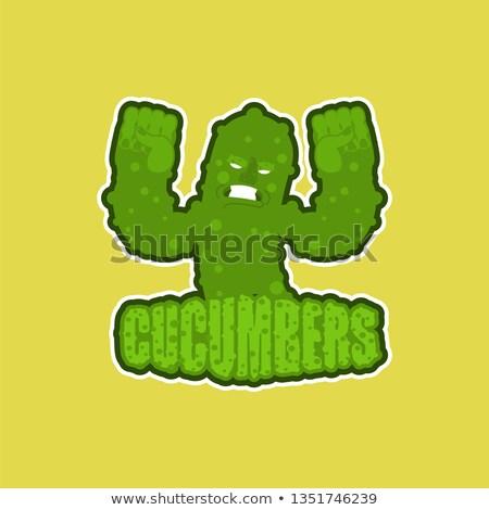 Sterke komkommer vegetarisch embleem gezonde voeding Stockfoto © rogistok