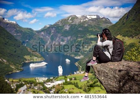 Charakter fotograf piękna Norwegia turystycznych kamery Zdjęcia stock © cookelma