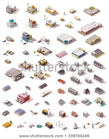 Vector low poly isometric stores and restaurants Stock photo © tele52