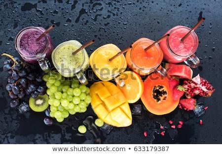 pochlebca · koktajl · szkła · świeże · owoce · drewna - zdjęcia stock © manaemedia
