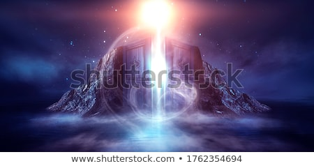 Landscape of the open sea with the island at night stock photo © tracer