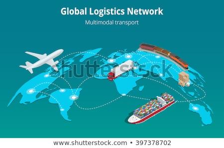 Flat isometric vector concept of global logistics. Stock photo © TarikVision