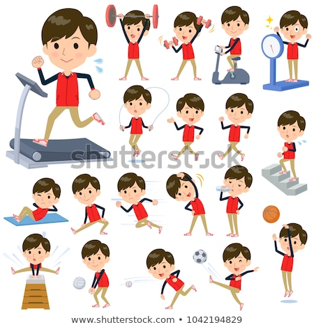 Store staff red uniform men_Sports & exercise Stock photo © toyotoyo