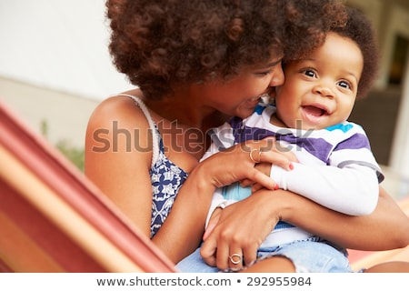 Stock fotó: Anya · gyermek · függőágy · pihen · homokos · tengerpart · égbolt