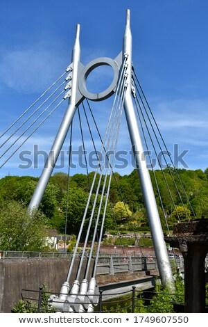 modern · látványos · híd · kék · ég · Lengyelország · folyó - stock fotó © wdnetstudio