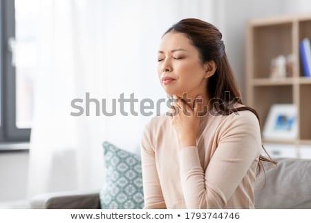 Torok fájdalom fiatal nő tart fájdalmas lány Stock fotó © CsDeli