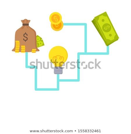 Fonds Plakat Geld Glühlampe Symbol Idee Stock foto © robuart