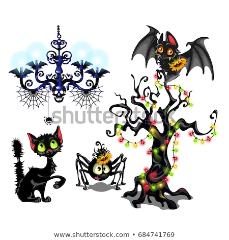 Set of elements to create poster on theme of Halloween holiday party. Cute bat, tree with garlands,  Stock photo © Lady-Luck