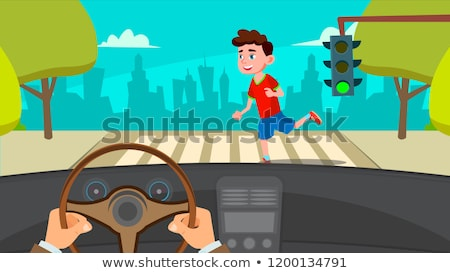 Little Boy Runing Across The Road In Front Of The Car A Frightened Driver Vector. Isolated Illustrat Stock photo © pikepicture