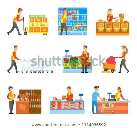 Set of Varied Works in Food Supermarket Poster Stock photo © robuart