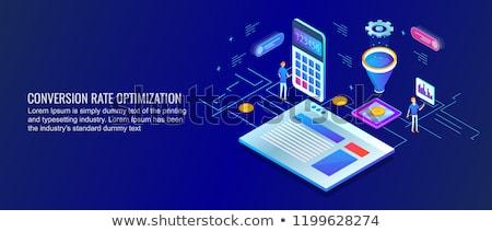 изометрический вектора оптимизация маркетинга воронка Сток-фото © TarikVision