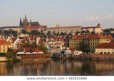 Katedrális piros tetők Prága felülnézet város Stock fotó © Givaga