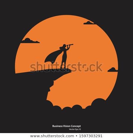 Nő néz távcső illusztráció hold csillagok Stock fotó © adrenalina