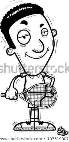 Confident Cartoon Black Badminton Player Stock photo © cthoman