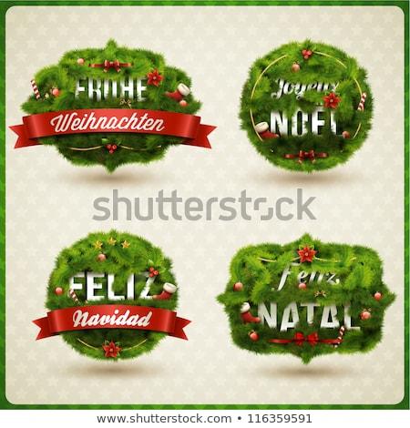 francia · vidám · karácsony · csecsebecse · kártya · vektor - stock fotó © cienpies