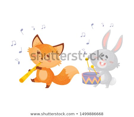 Bunny playing drum with music notes in background Stock photo © colematt
